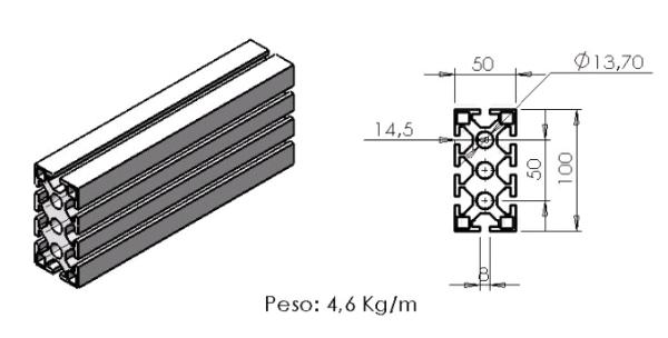 PEFIL 50X100 -  Perfil em Alumínio em Araucária