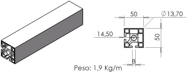 PERFIL 50X50 Canto -  Bancadas em Alumínio em Araucária
