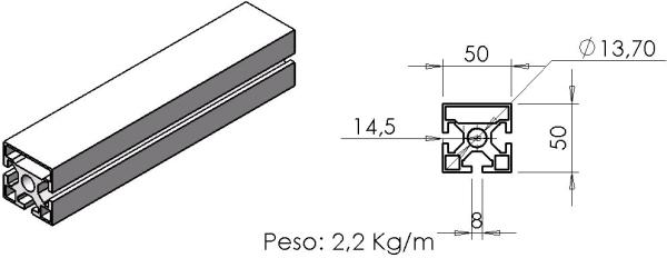 PERFIL 50X50 Face - Perfil em Alumínio