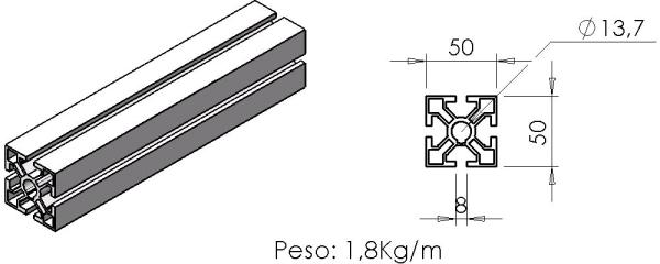 PERFIL 50X50 Leve -  Automação Industrial