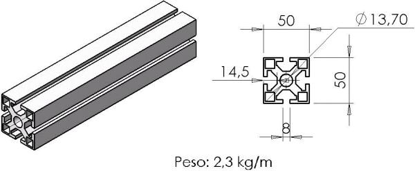 PERFIL 50X50 -  Bancadas em Alumínio em Curitiba e Região