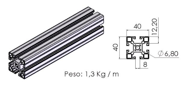 PERFIL 40X40 Universal -  Automação Industrial em Curitiba e Região