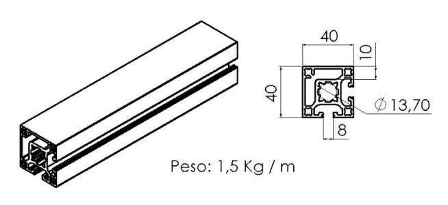 PERFIL 40X40 de Canto - Perfil em Alumínio