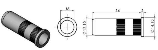 Bucha com rosca interna Base 40mm -  Automação Industrial