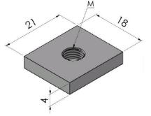 Porcas Retangulares 40/45/50mm -  Enclausuramentos