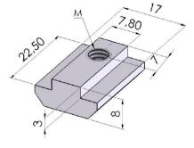 Porcas Retangulares 40/45mm -  Perfil em Alumínio em Araucária
