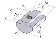 Porcas Retangulares Base 50mm -  Perfil em Alumínio em Araucária
