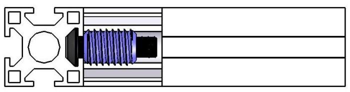Fixação por parafuso com inserto roscado -  Bancadas em Alumínio