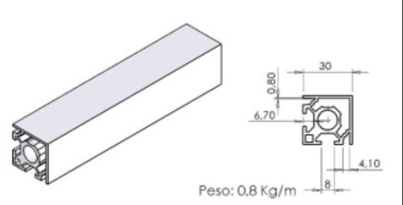 PERFIL 30X30 de Canto -  Bancadas em Alumínio em Araucária