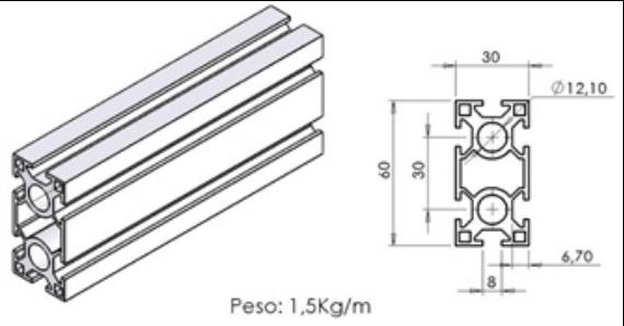 Perfil 30×60 Universal -  Bancadas em Alumínio