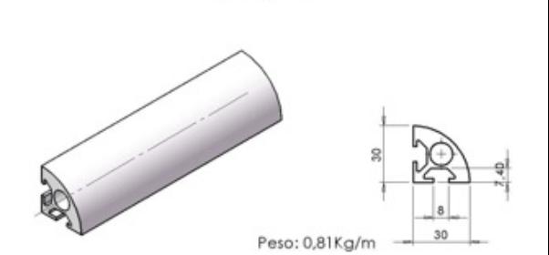 Perfil 30×30 Softline -  Bancadas em Alumínio