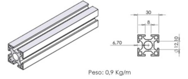 PERFIL 30X30 Leve -  Perfil em Alumínio em Curitiba e Região