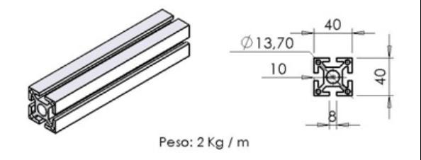 PERFIL 40X40 Básico -  Bancadas em Alumínio em Araucária