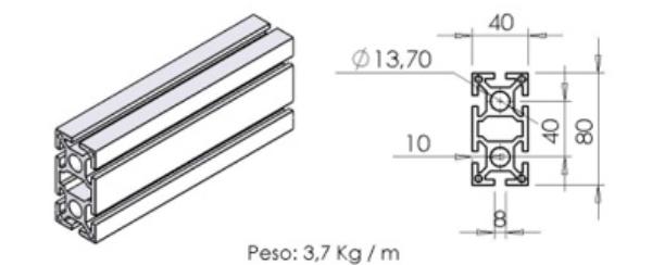 PERFIL 40X80 Básico -  Enclausuramentos em Curitiba e Região
