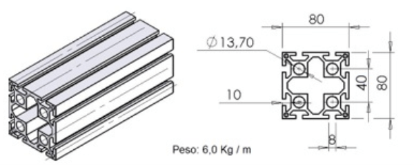 PERFIL 80X80 Reforçado -  Automação Industrial em Curitiba