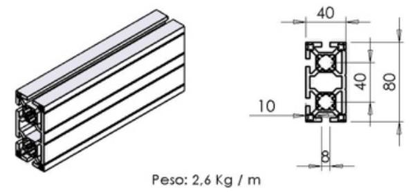 PERFIL 40X80 Face -  Bancadas em Alumínio em Araucária
