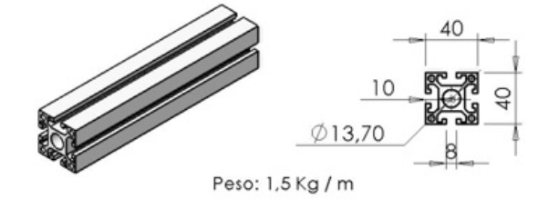 PERFIL 40X40 Leve -  Enclausuramentos em Curitiba e Região