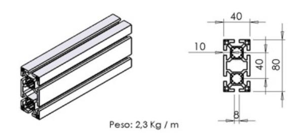 PERFIL 40X80 Leve -  Automação Industrial em Araucária