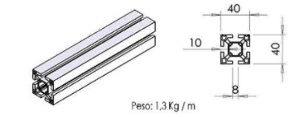 PERFIL 40X40 Super leve -  Perfil em Alumínio em Araucária