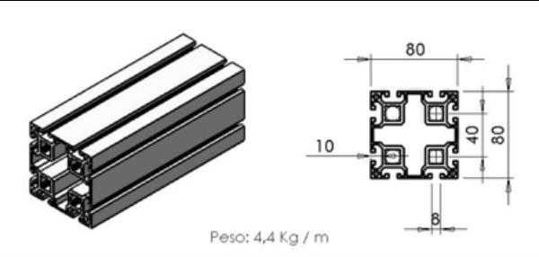 PERFIL 80X80 Leve -  Enclausuramentos