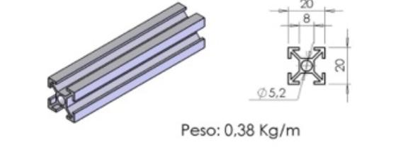 PERFIL 20X20 – D01-5 -  Perfil em Alumínio em Curitiba