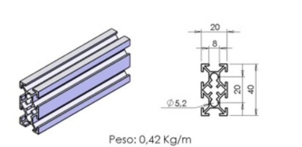 PERFIL 20X40 – D01-7 -  Perfil em Alumínio em Curitiba e Região