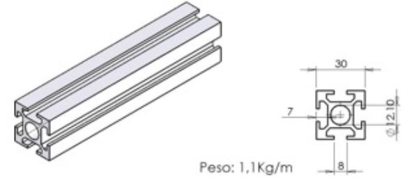 PERFIL 30X30 Reforçado - Perfil em Alumínio